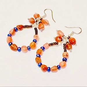 Red Orange Hua Sho Jade Earrings